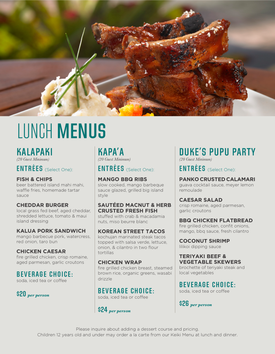 lunch menu for events