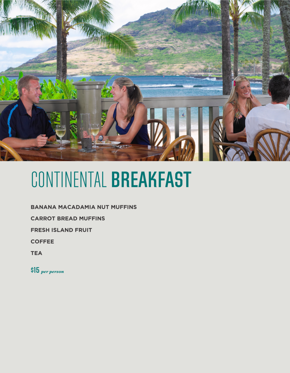 Events menu for continental breakfasts