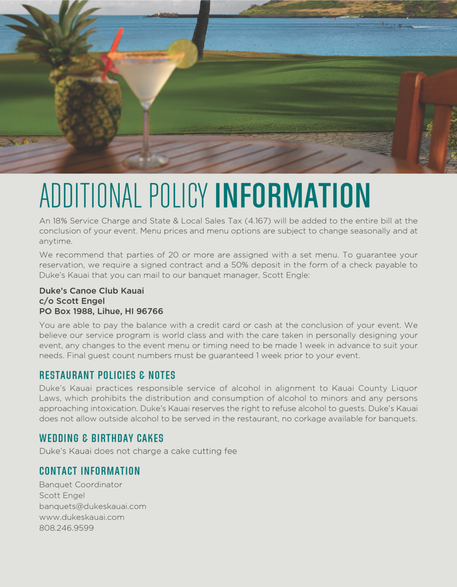 Additional Policy Information for events