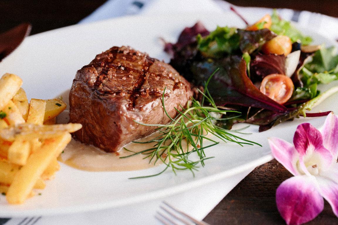 steak dinner plate